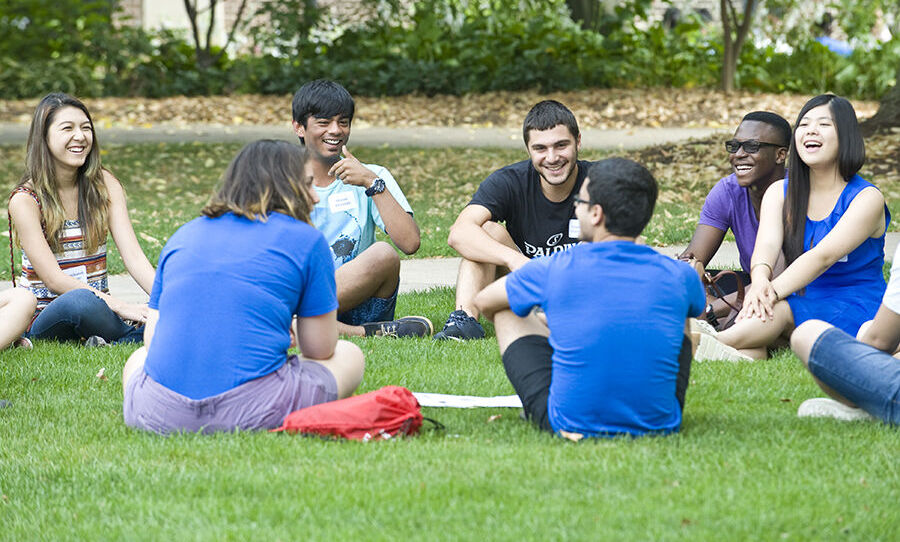 International students relax on the Arts Quad during their three-day F&M orientation, Aug. 26-28. They joined their domestic peers for additional orientation activities through labor Day, Sept. 1. (Photo by Eric Forberger)