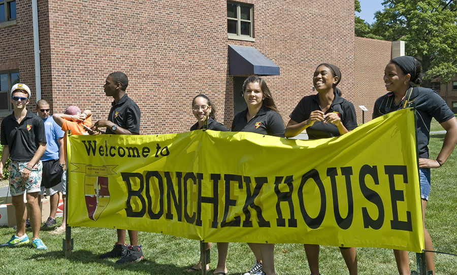 Members of Bonchek College House greet families arriving on campus for Move-In Day, Aug. 28. A longstanding tradition at F&M, current students help all first-years move into their Houses. (Photo by Eric Forberger)