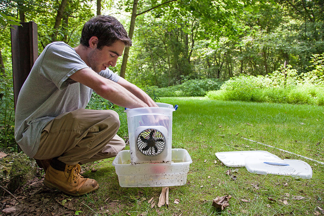 Franklin & Marshall College senior Joshua Finkel sets up a mosquito trap at the Millport Conservancy, an 85-acre plant and wildlife refuge associated with F&M. Finkel spent the summer of 2014 perfecting a low-cost version of the trap that he hopes public health agencies can use to curtail the spread of disease by the insects, which cause an estimated 625,000 deaths a year globally. (Photo by Melissa Hess)